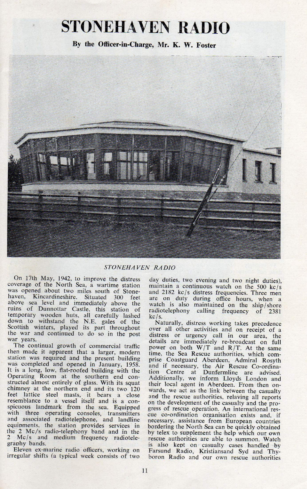 The first page from the magazine article showing picture of the Stonehaven Radio building