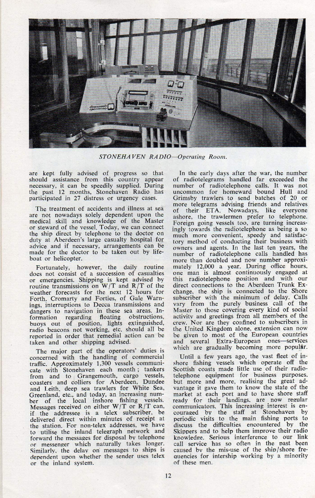second page of the article with picture of the radio console in the operating room