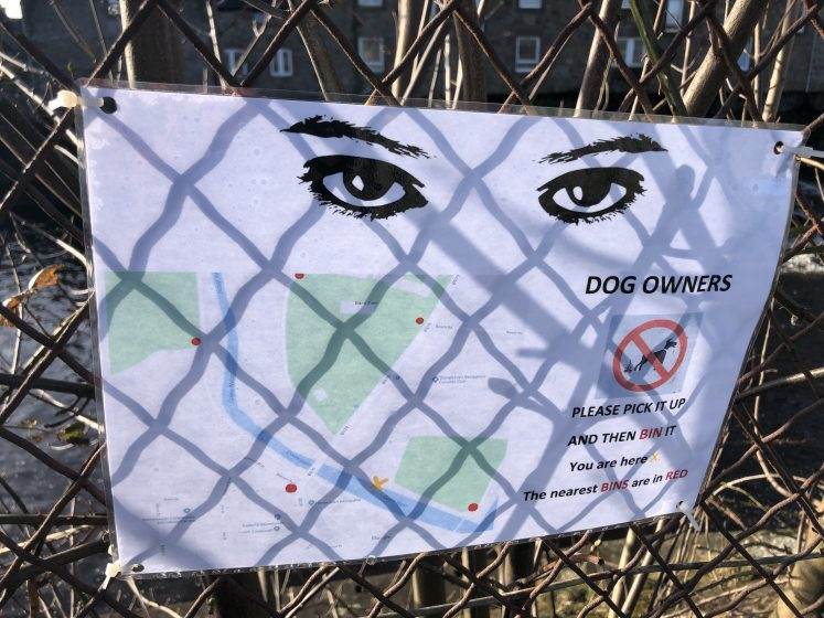 poster with eyes and map of dog bins