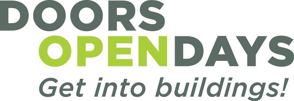 banner with doors open day wording