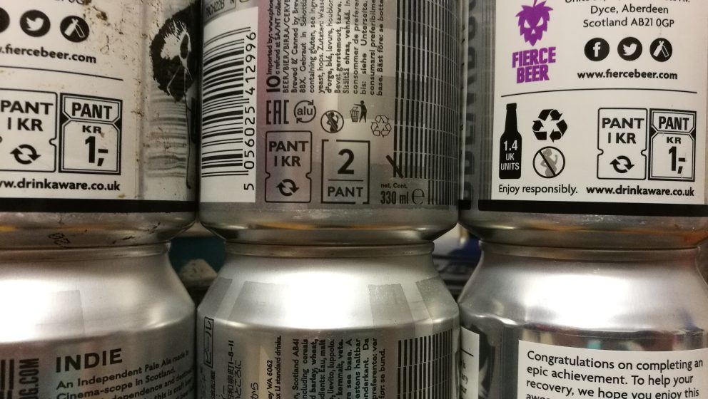 row of beer cans with pant information