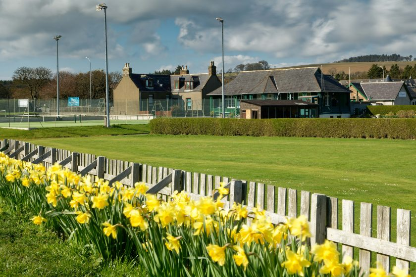 view across putting green to tennis courts with daffodils in full bloom in foreground
