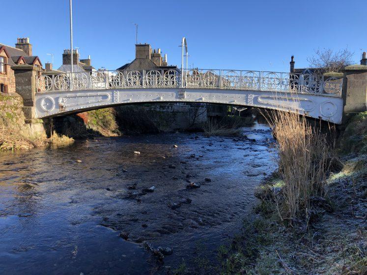 White Bridge taken from upstream on winter's day of blue skies