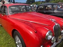 Sleek red vintage saloon car