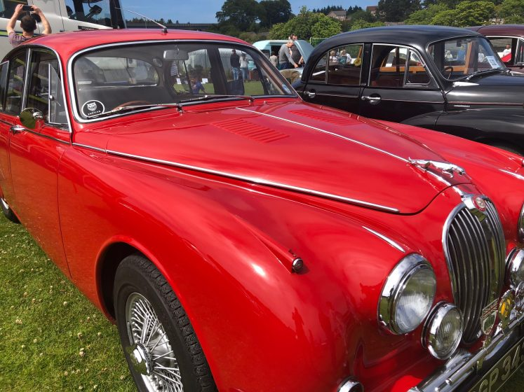 Sleek red vintage saloon car