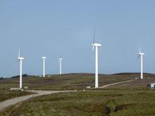 Group of turbines on hillside