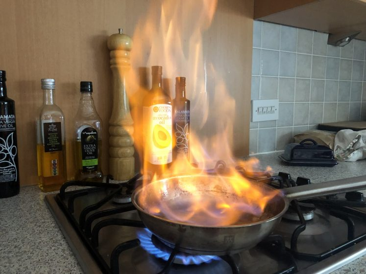 frying pan fire - cheap whisky flambe