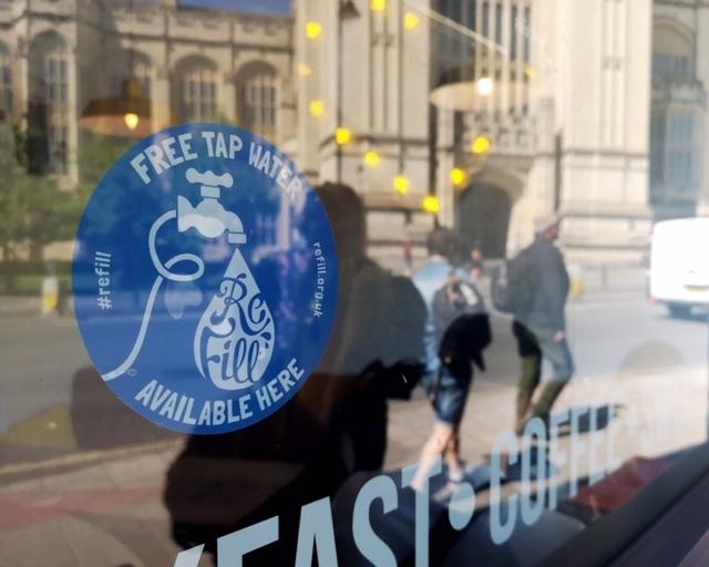 Refill logo on shop window