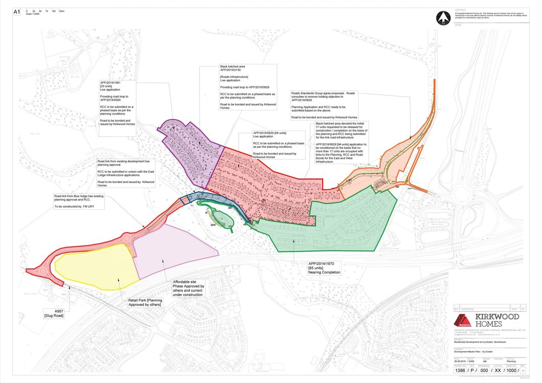Master plan shows link road and building phases