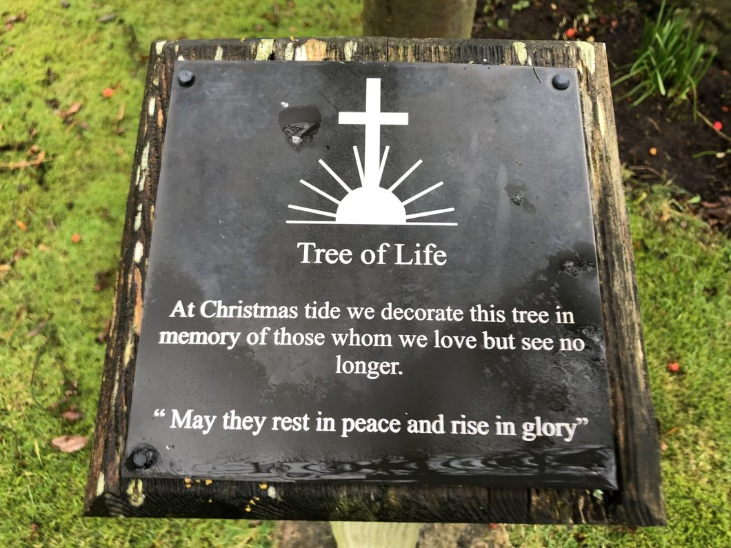 Plaque reads: At Christmas tide we decorate this tree in memory of those whome we love but see no longer. ''May they rest in peace and rise in glory''