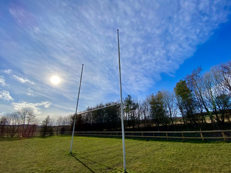 Rugby posts and blue sky