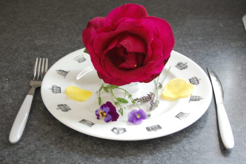 Edible flowers on plate