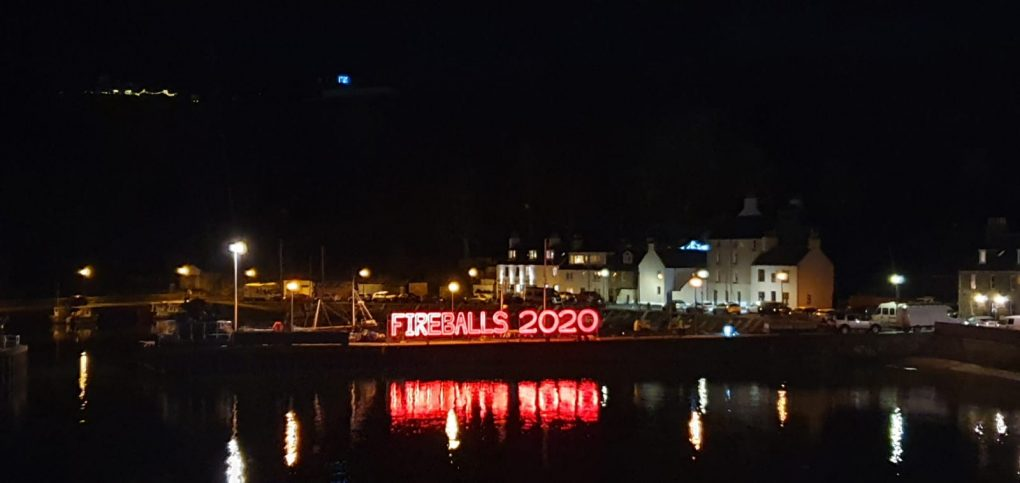 Fireballs 2020 in lights over harbour